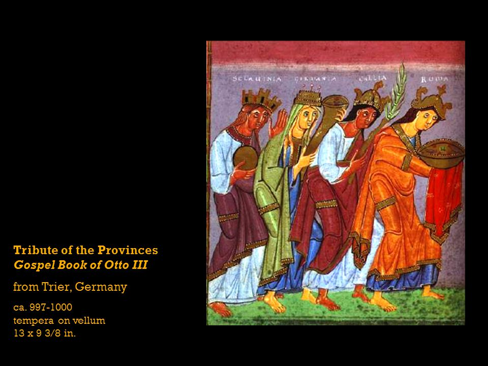 Tribute of the Provinces Gospel Book of Otto III from Trier, Germany