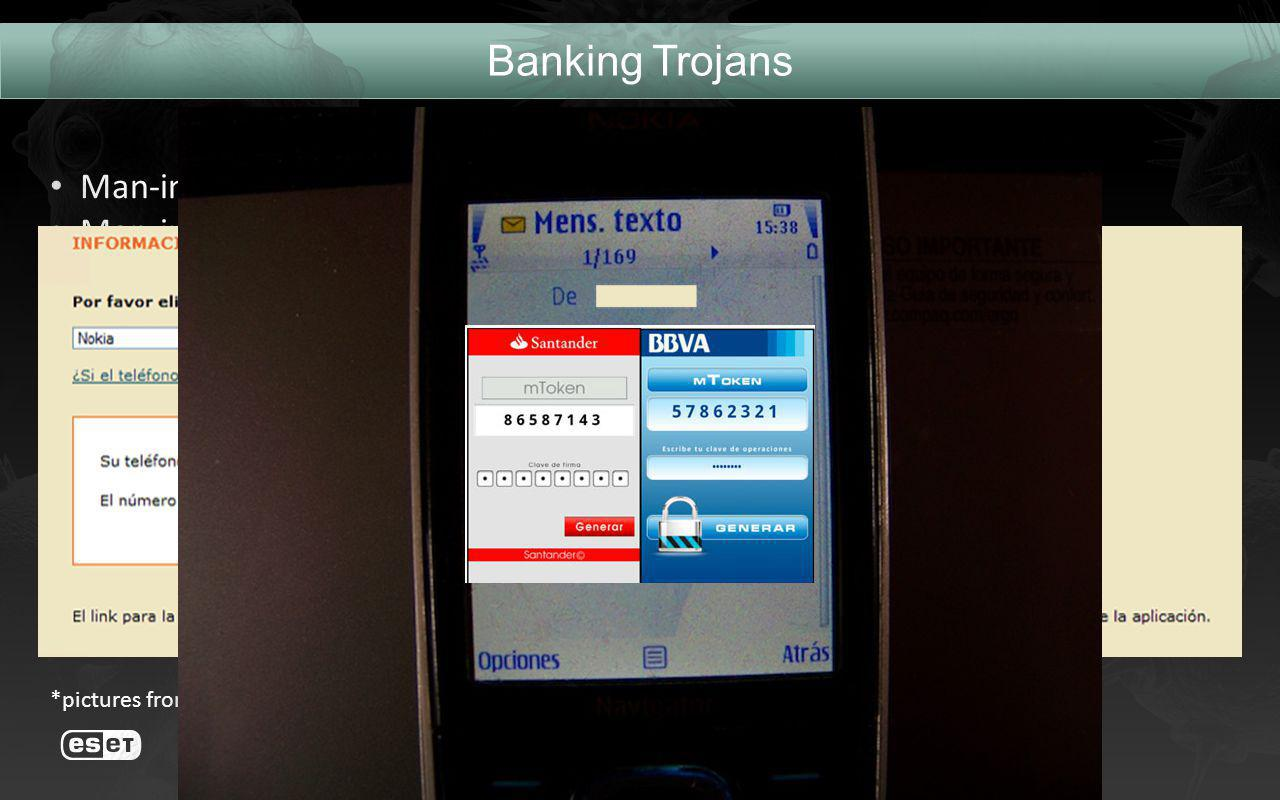 Banking Trojans Man-in-the-Browser Man-in-the-Mobile Scenario: