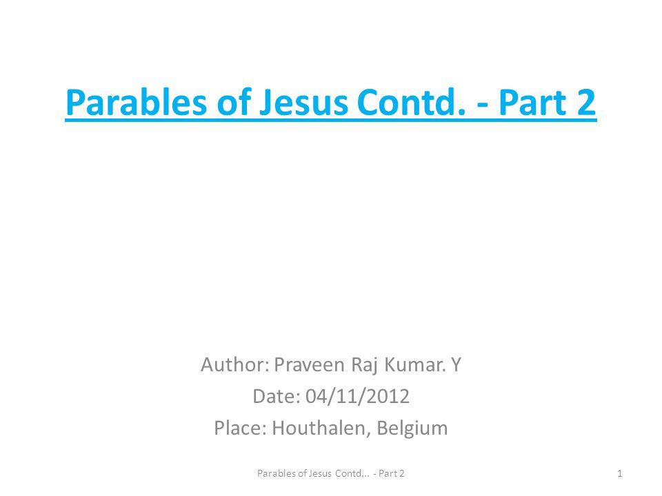 Parables of Jesus Contd. - Part 2