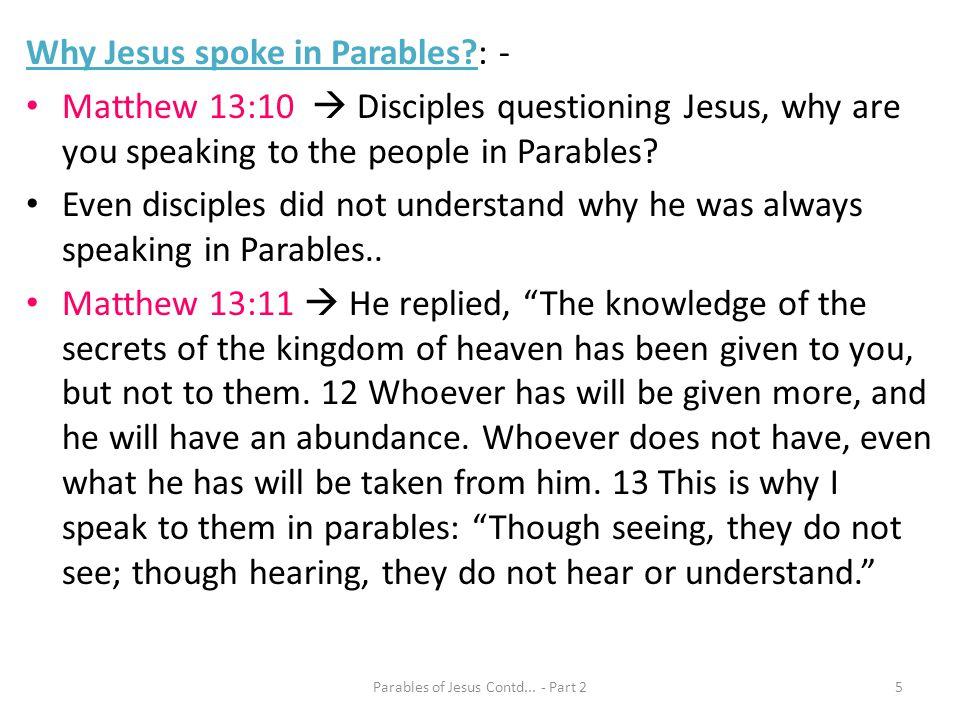 Parables of Jesus Contd... - Part 2