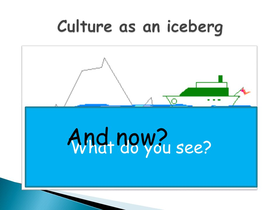 Culture as an iceberg What do you see And now
