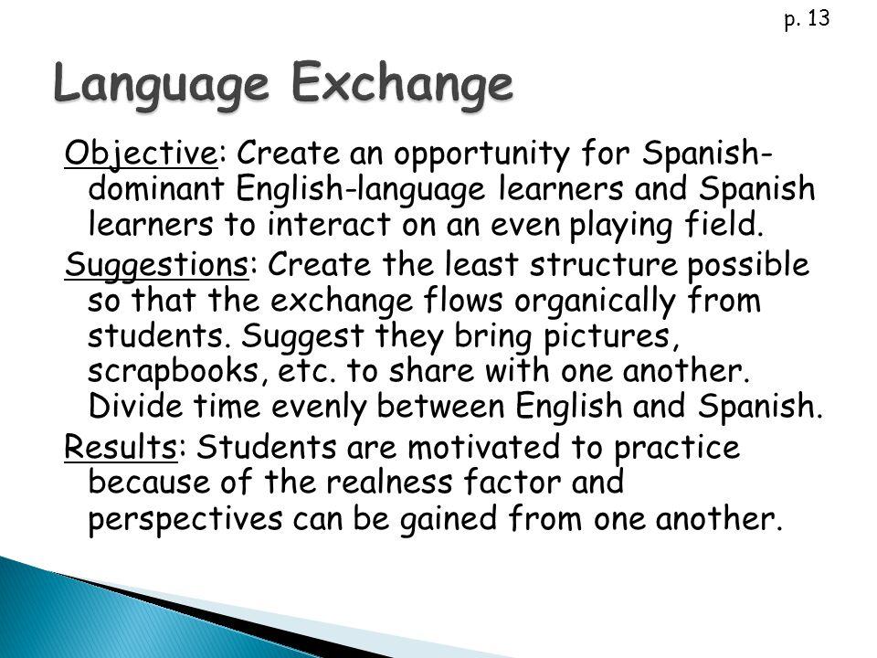 p. 13 Language Exchange.