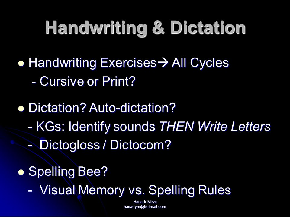 Handwriting & Dictation
