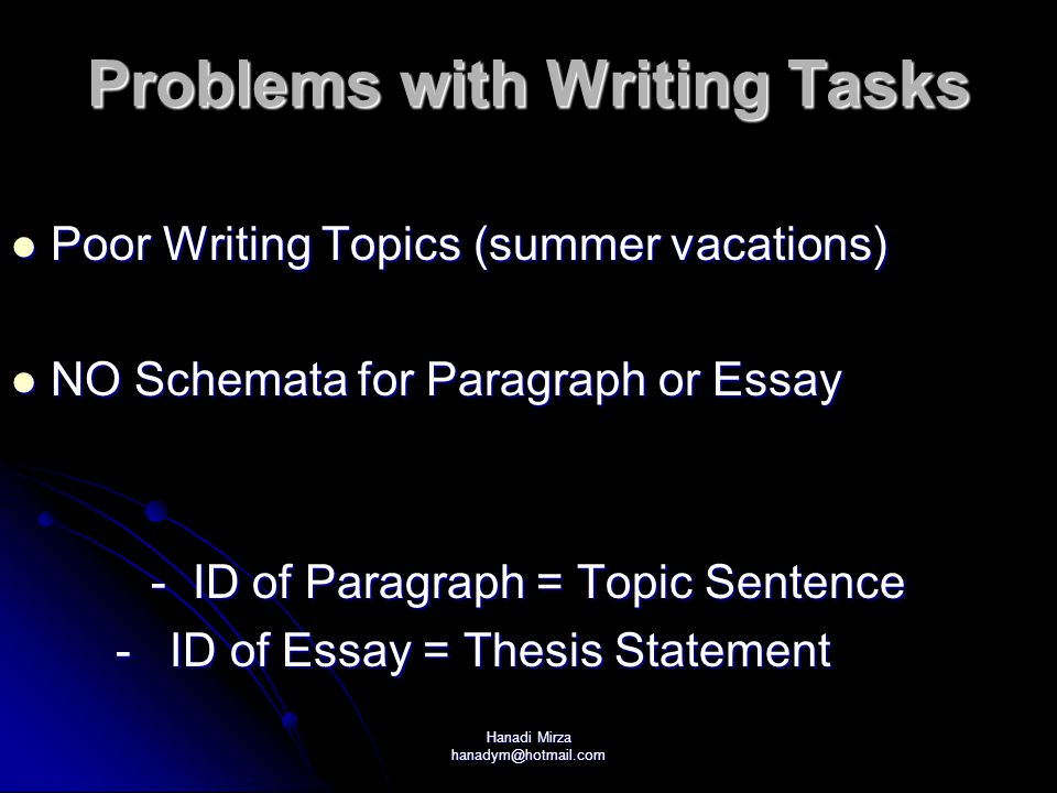 Problems with Writing Tasks