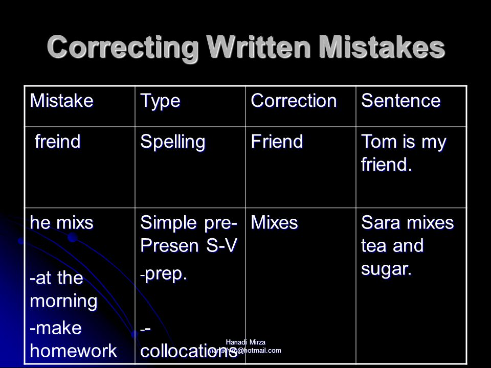 Correcting Written Mistakes