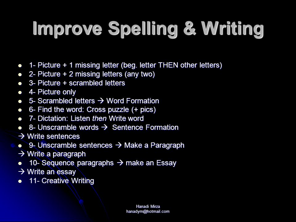 Improve Spelling & Writing