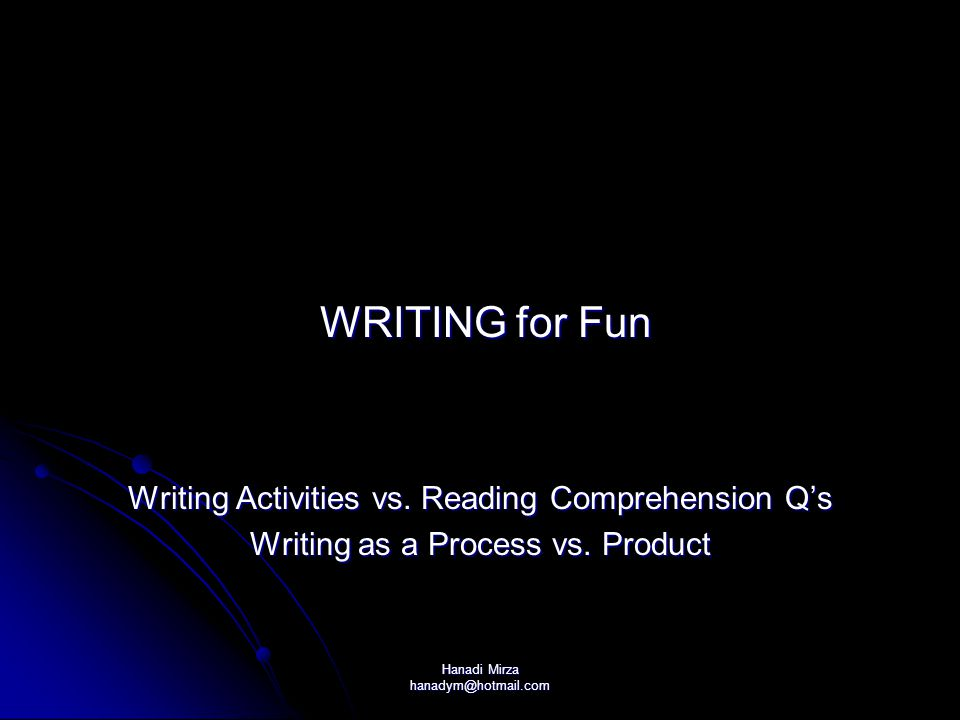 WRITING for Fun Writing Activities vs. Reading Comprehension Q's