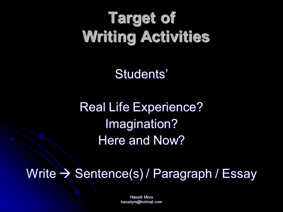 Target of Writing Activities