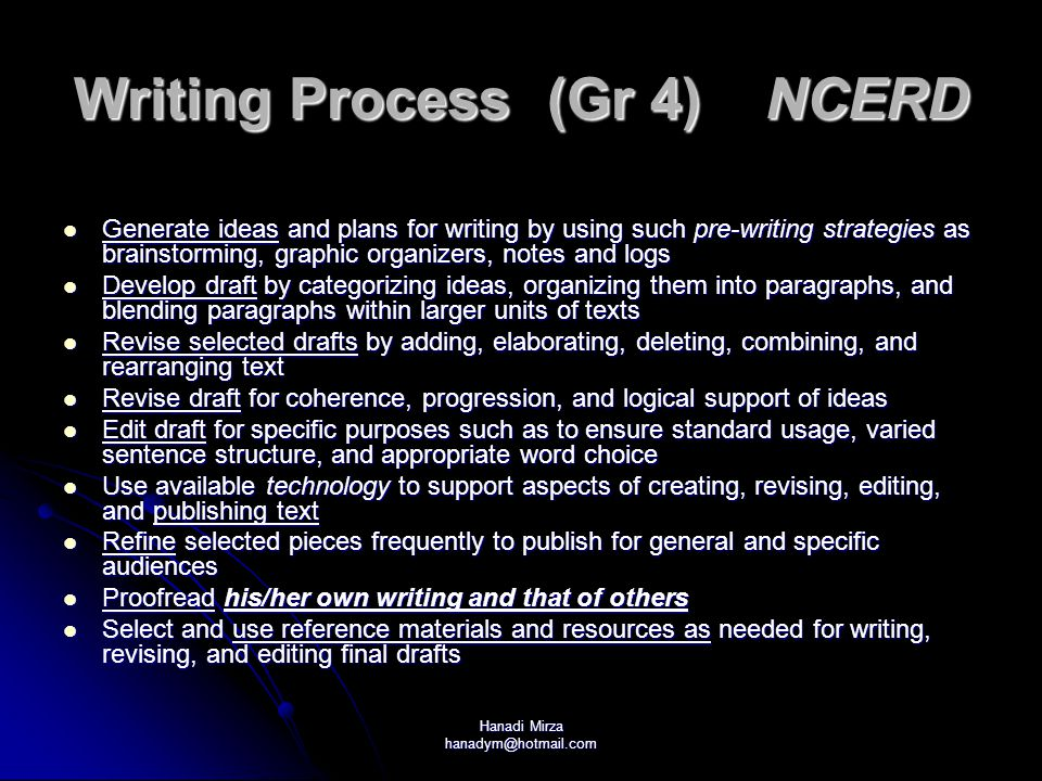 Writing Process (Gr 4) NCERD