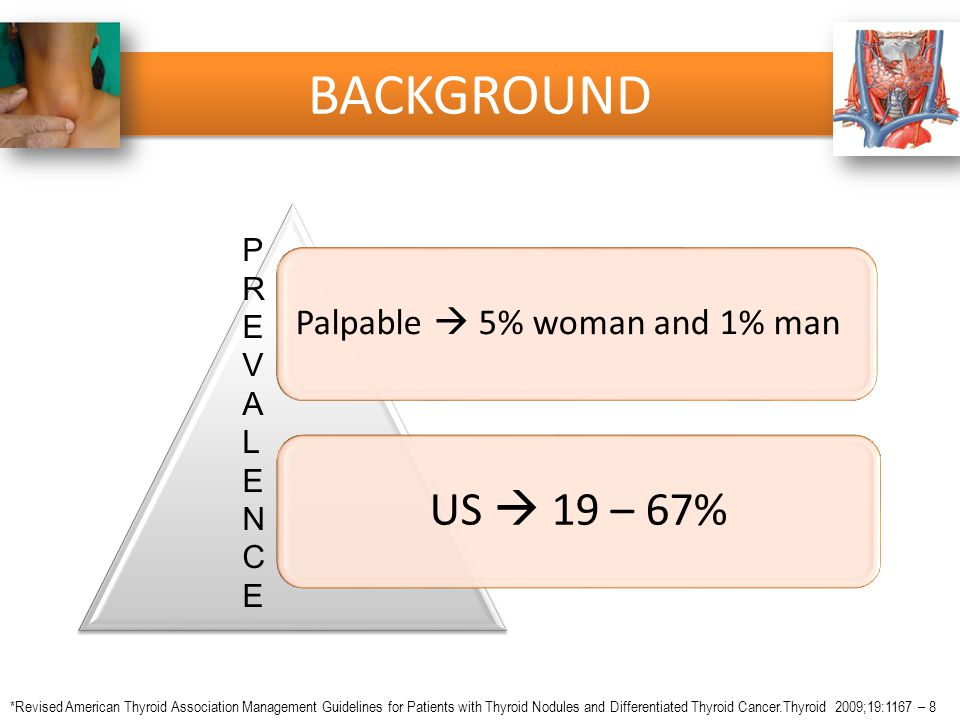 BACKGROUND US  19 – 67% Palpable  5% woman and 1% man P R E V A L N