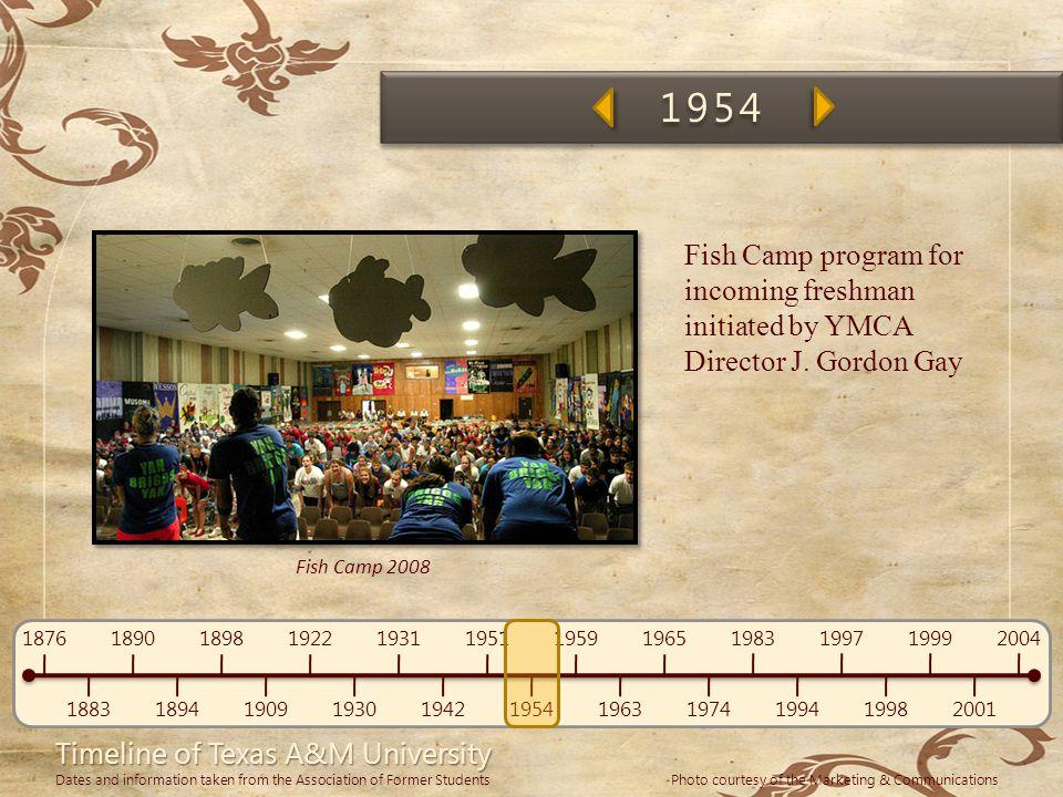 1954 Fish Camp program for incoming freshman initiated by YMCA Director J. Gordon Gay.