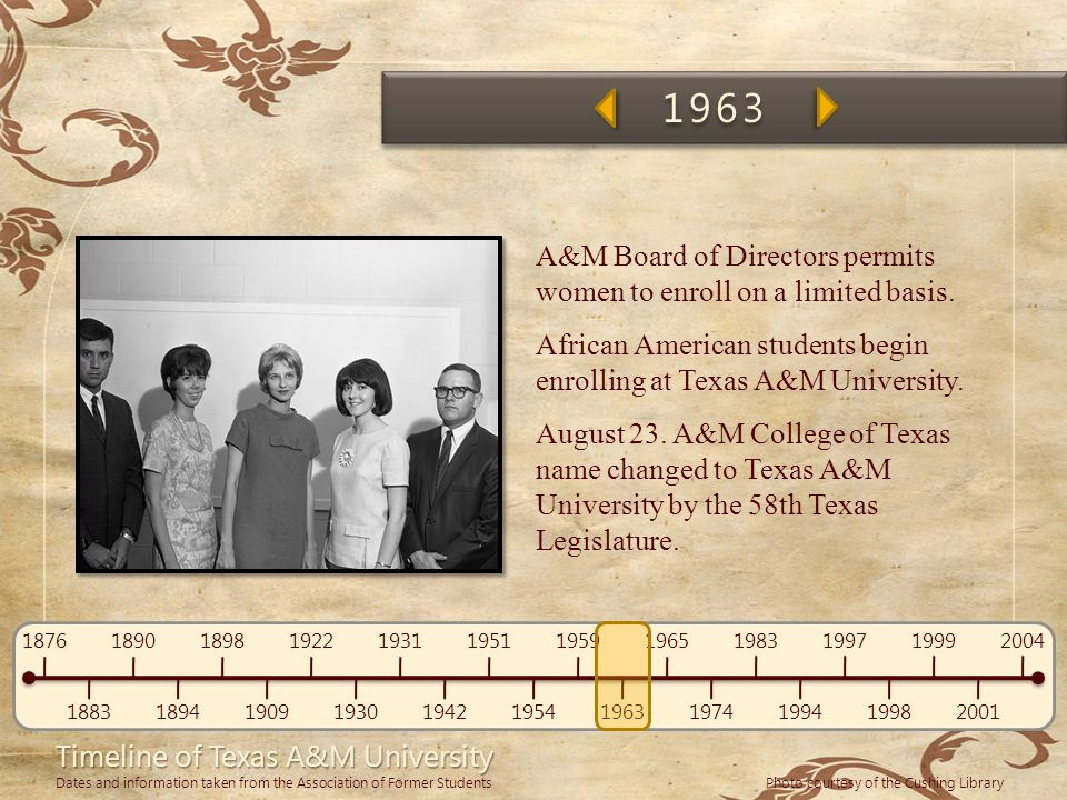 1963 A&M Board of Directors permits women to enroll on a limited basis. African American students begin enrolling at Texas A&M University.