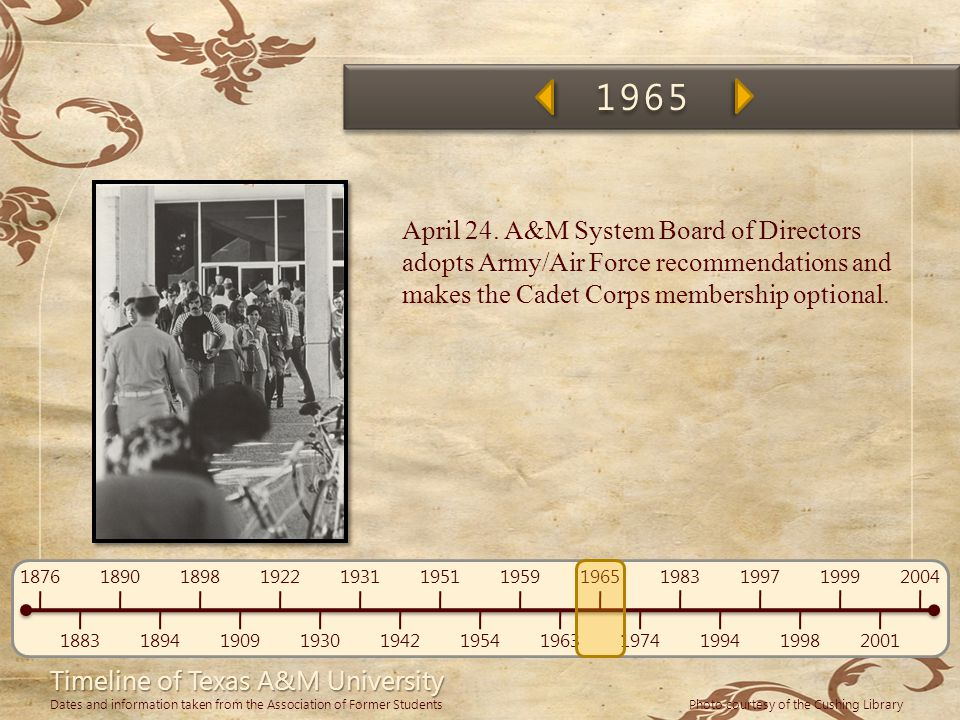 1965 April 24. A&M System Board of Directors adopts Army/Air Force recommendations and makes the Cadet Corps membership optional.