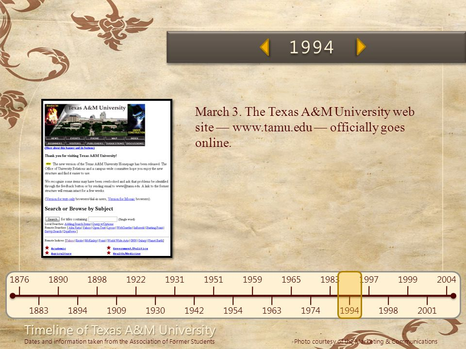 1994 March 3. The Texas A&M University web site — www.tamu.edu — officially goes online. Woohoo!