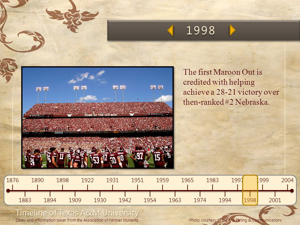 1998 The first Maroon Out is credited with helping achieve a 28-21 victory over then-ranked #2 Nebraska.