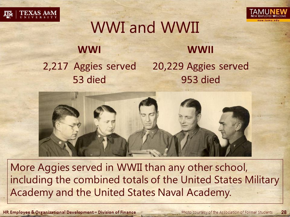 WWI and WWII WWI WWII 2,217 Aggies served 53 died