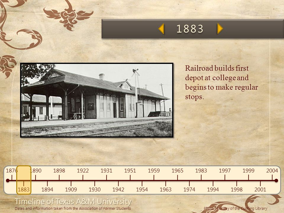 1883 Railroad builds first depot at college and begins to make regular stops.