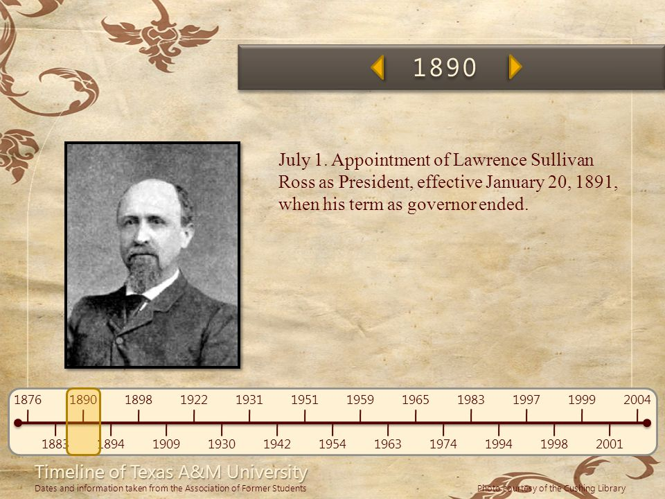 1890 July 1. Appointment of Lawrence Sullivan Ross as President, effective January 20, 1891, when his term as governor ended.