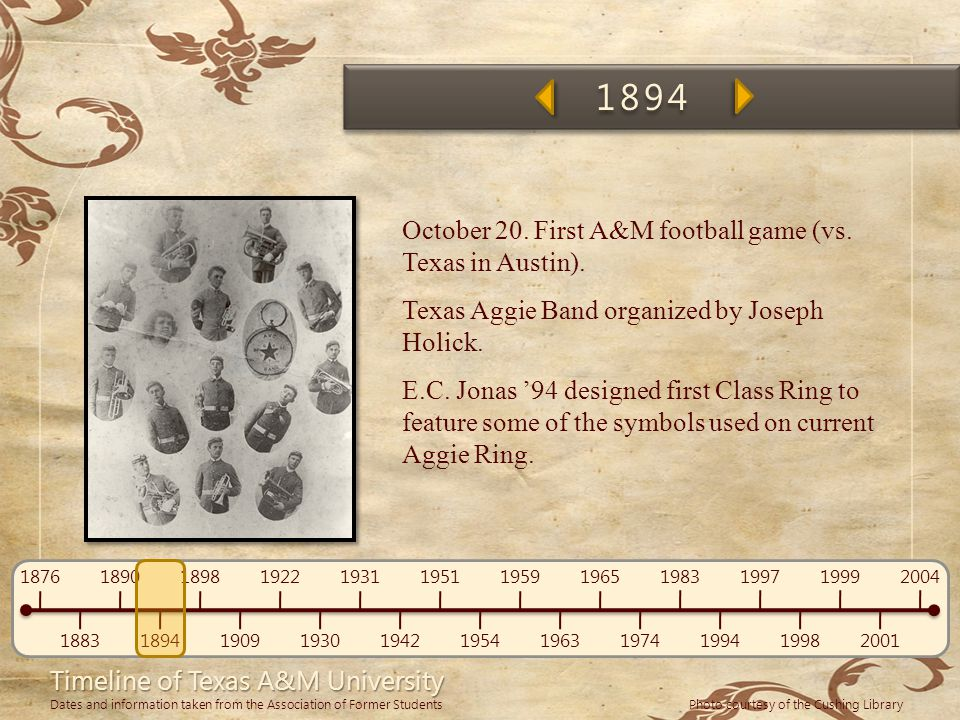 1894 October 20. First A&M football game (vs. Texas in Austin).