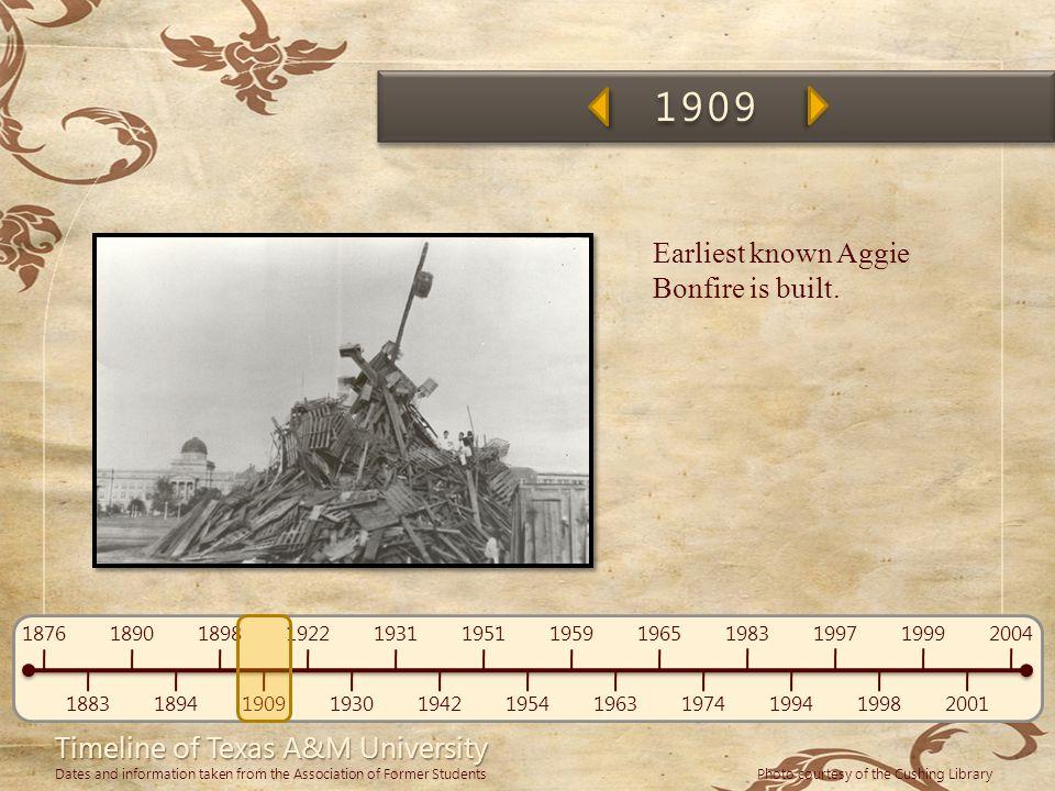 1909 Earliest known Aggie Bonfire is built.