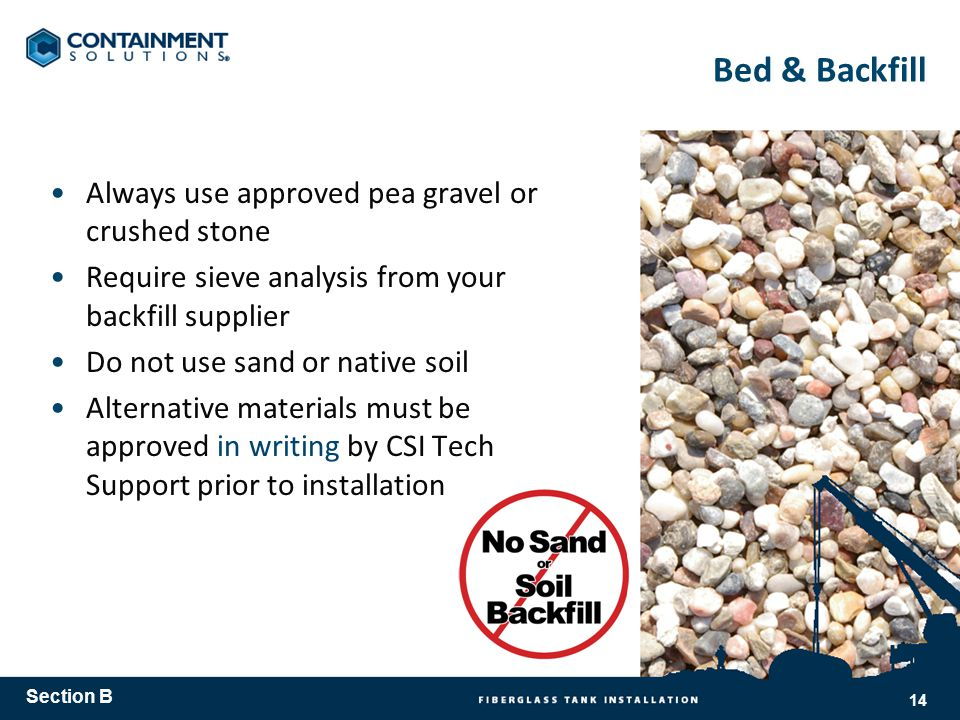 Bed & Backfill Always use approved pea gravel or crushed stone