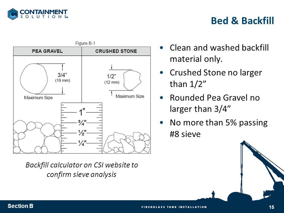 Backfill calculator on CSI website to confirm sieve analysis