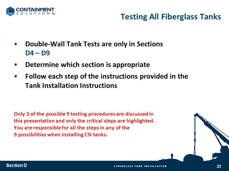 Testing All Fiberglass Tanks
