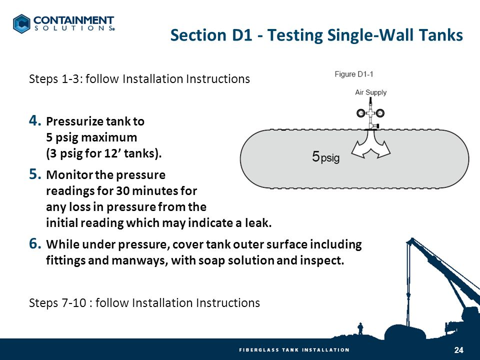 Section D1 - Testing Single-Wall Tanks