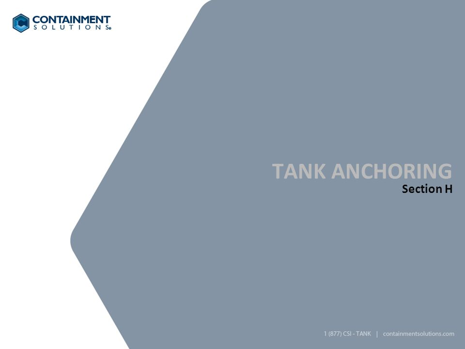 Tank anchoring Section H