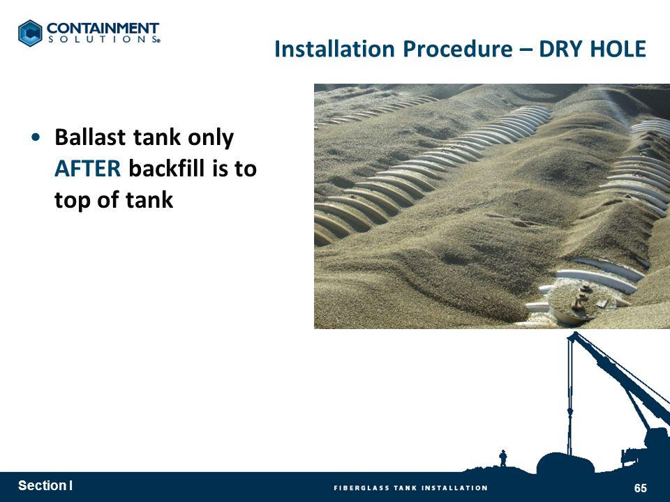 Installation Procedure – DRY HOLE