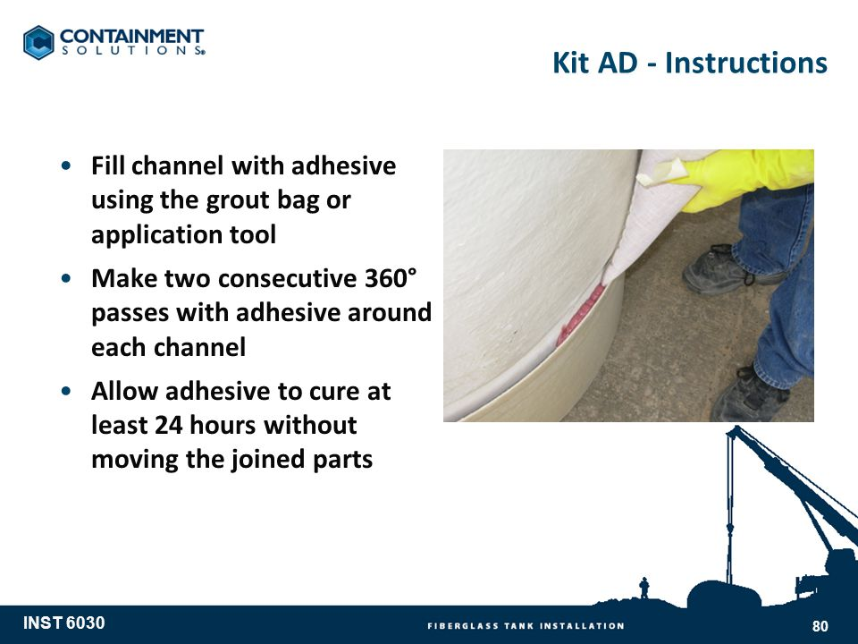 Kit AD - Instructions Fill channel with adhesive using the grout bag or application tool.