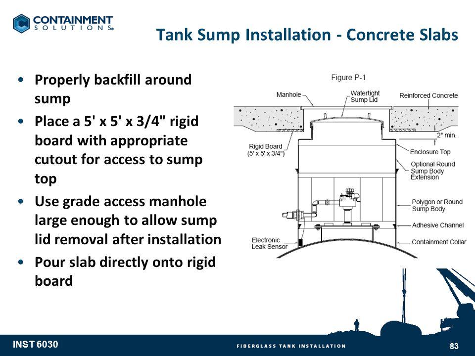 Tank Sump Installation - Concrete Slabs