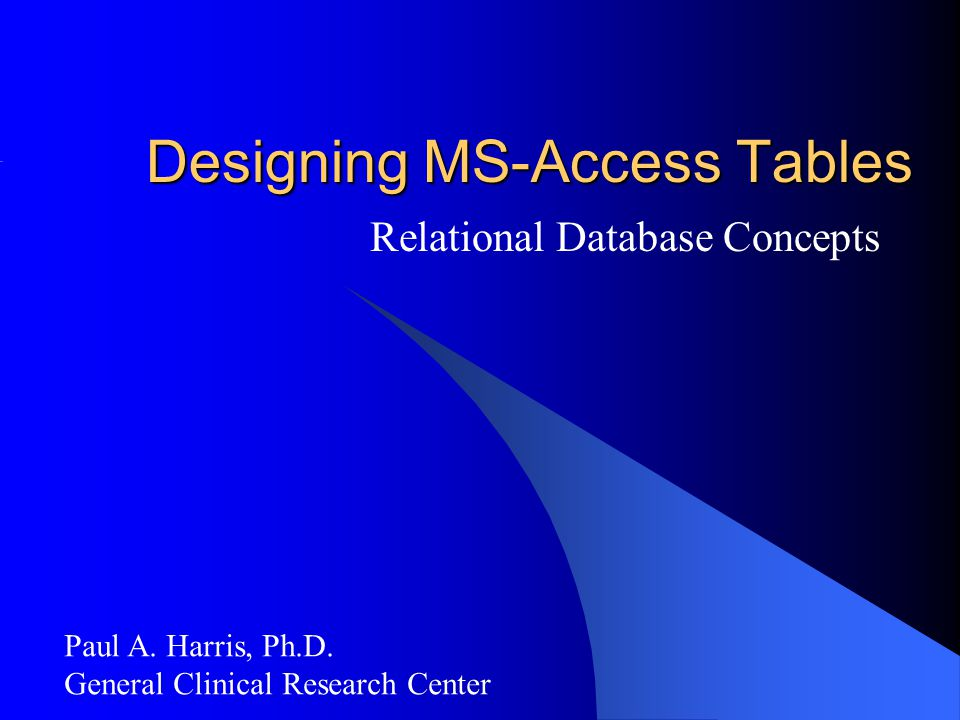 Designing MS-Access Tables
