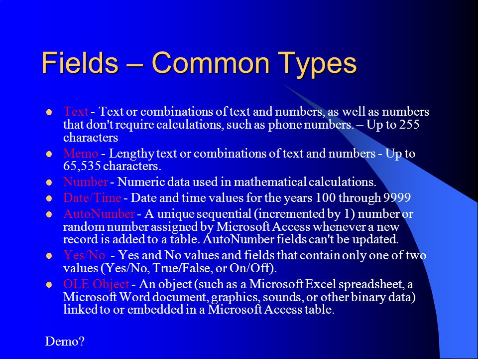 Fields – Common Types