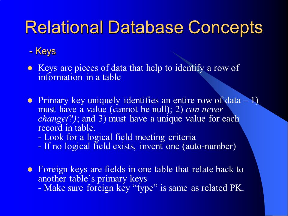 Relational Database Concepts - Keys