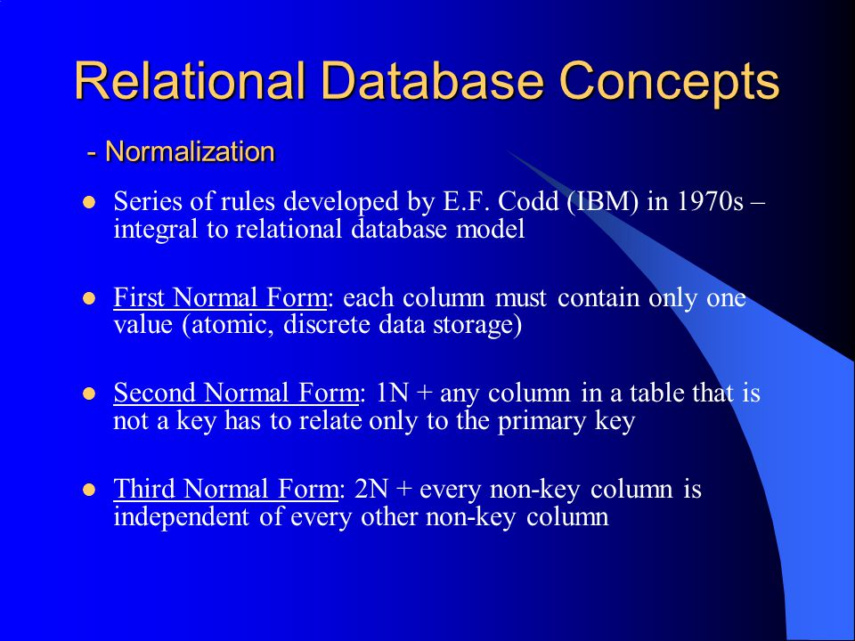 Relational Database Concepts - Normalization