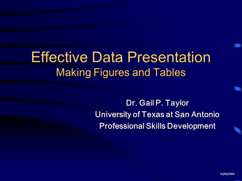 Effective Data Presentation Making Figures and Tables