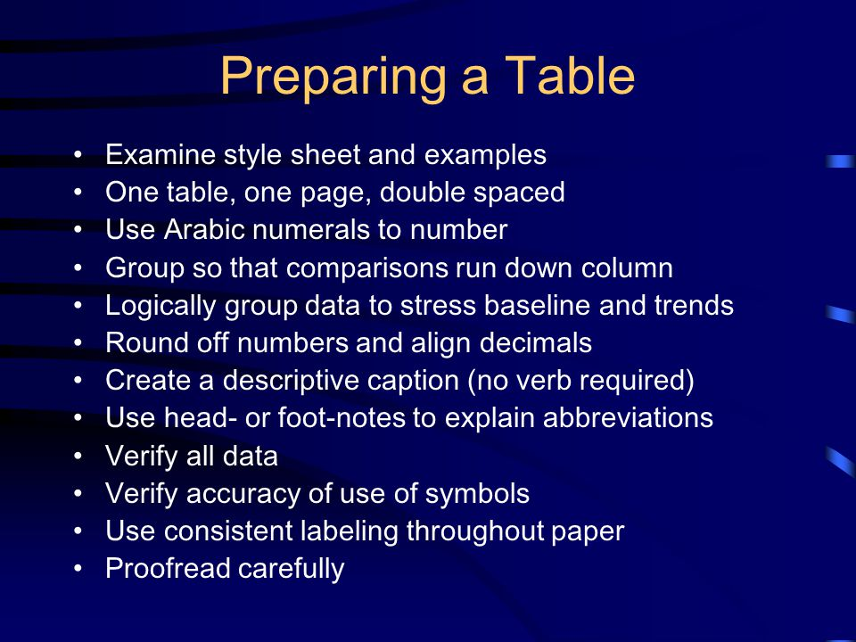 Preparing a Table Examine style sheet and examples