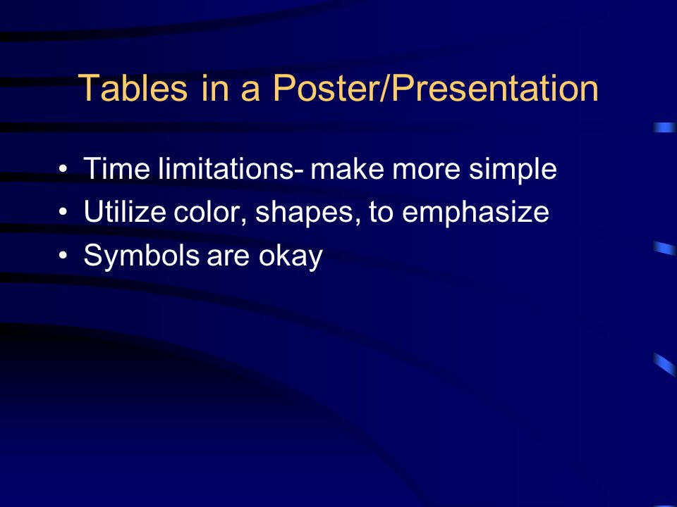 Tables in a Poster/Presentation