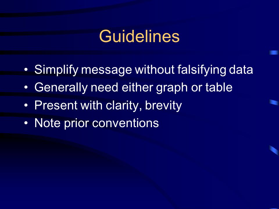 Guidelines Simplify message without falsifying data