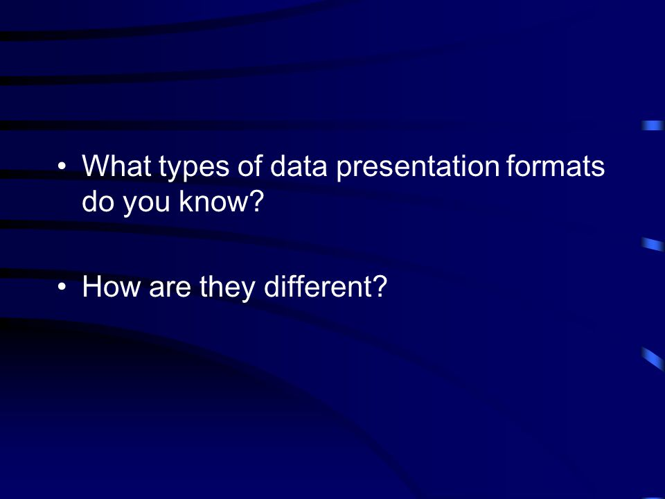 What types of data presentation formats do you know