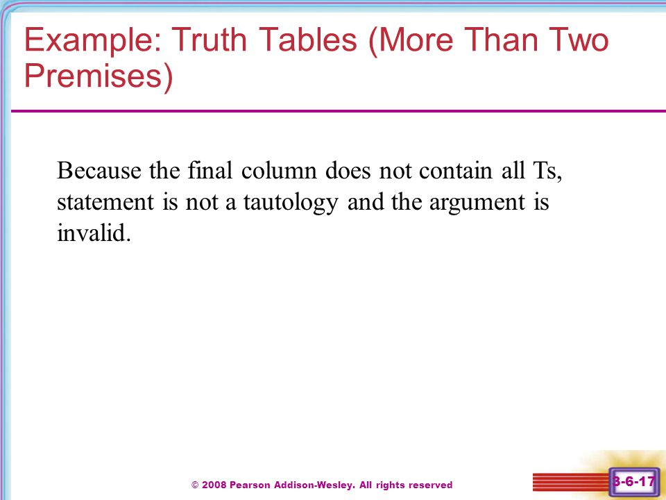 Example: Truth Tables (More Than Two Premises)