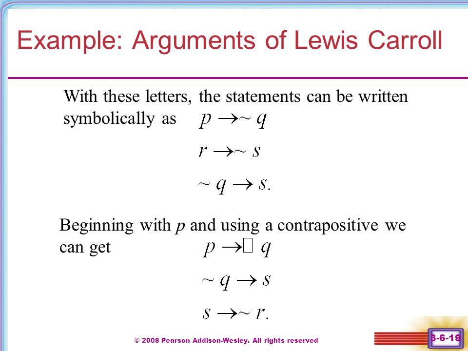 Example: Arguments of Lewis Carroll