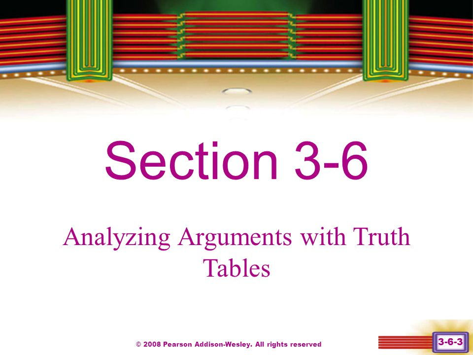Section 3-6 Chapter 1 Analyzing Arguments with Truth Tables