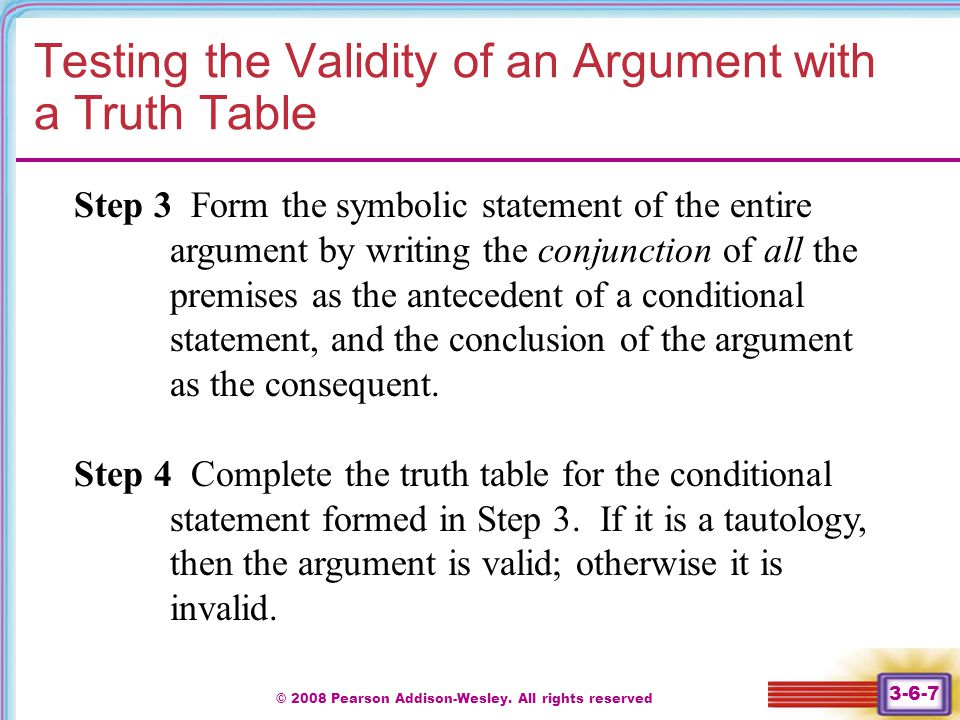 Testing the Validity of an Argument with a Truth Table