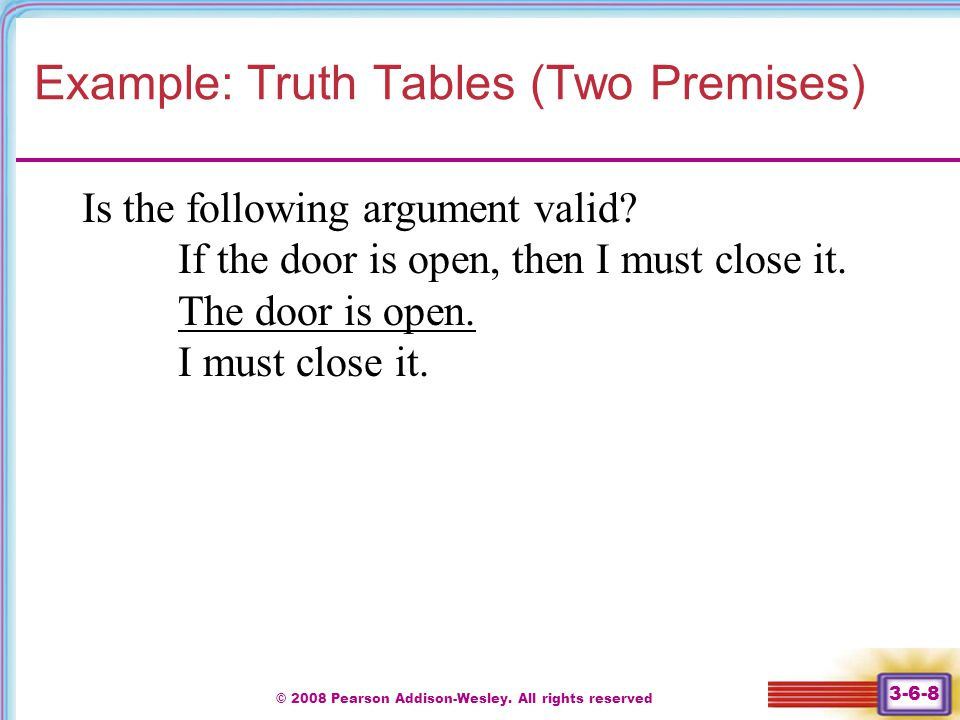 Example: Truth Tables (Two Premises)