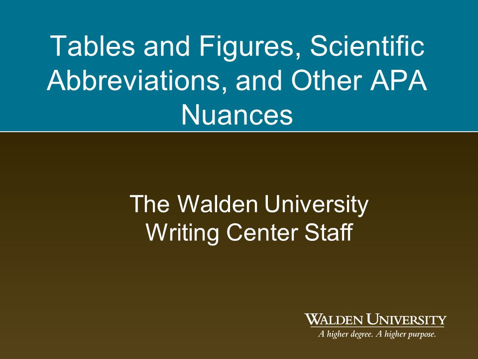 Tables and Figures, Scientific Abbreviations, and Other APA Nuances