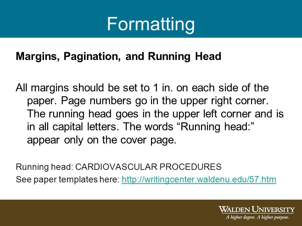 Formatting Margins, Pagination, and Running Head
