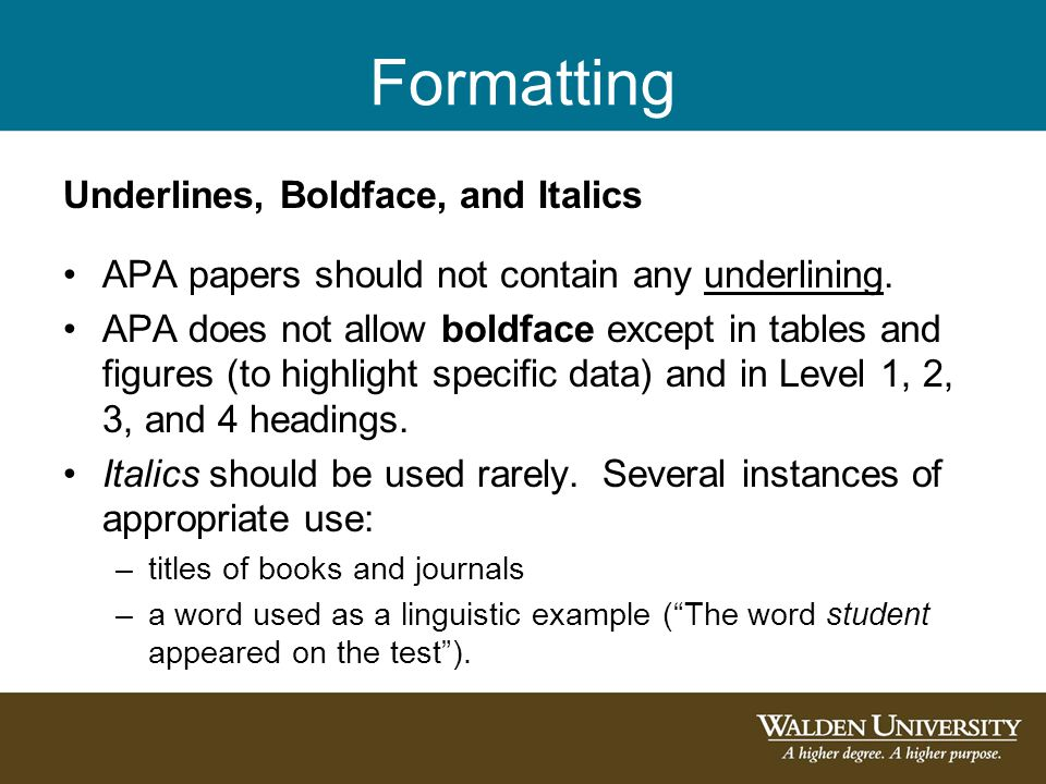 Formatting Underlines, Boldface, and Italics