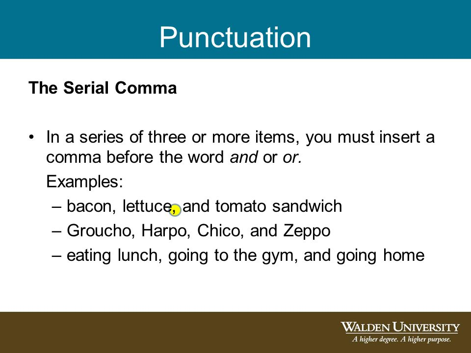 Punctuation The Serial Comma